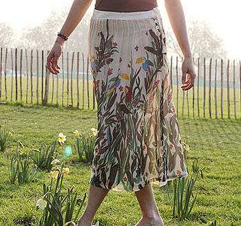 Birds Of Paradise Pintuck Skirt