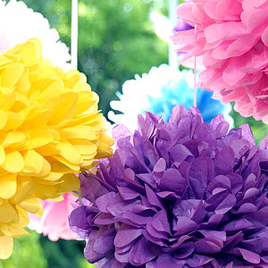 Pack Of Four Tissue Paper Pom Pom Balls - outdoor decorations
