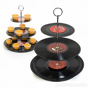 Three Tier Vinyl Record Cake Stand - dining room