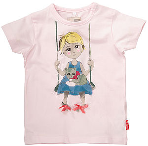 Hafina Girl On Swing Cotton T Shirt - t-shirts & tops