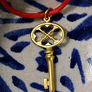 Gold Key On Red Cord Necklace