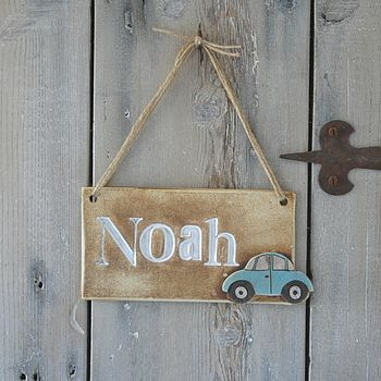 Personalised Children's Car Room Sign