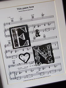 Personalised Sheet Music Initials Poster - gifts for couples