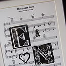 Personalised Sheet Music Initials Print