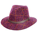 'Aviemore' Harris Tweed Fedors Plum Check