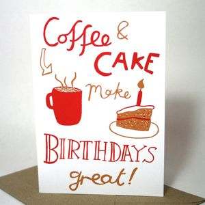Coffee And Cake Birthday Card - new lines added