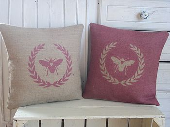 Bee And Laurel Wreath Hand Printed Cushion