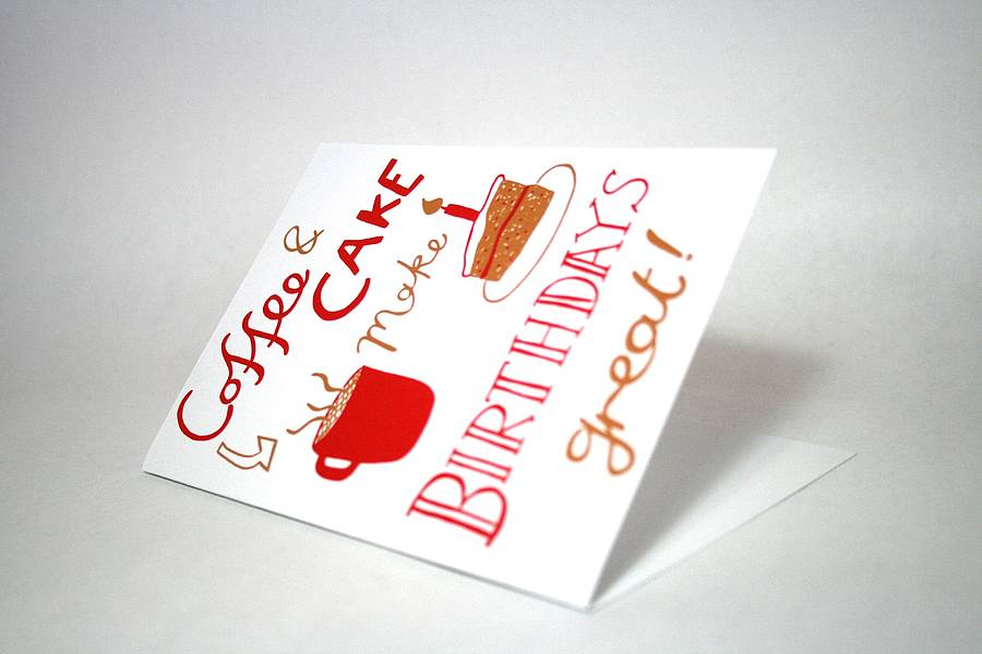 coffee and cake birthday card by memo illustration, Birthday card