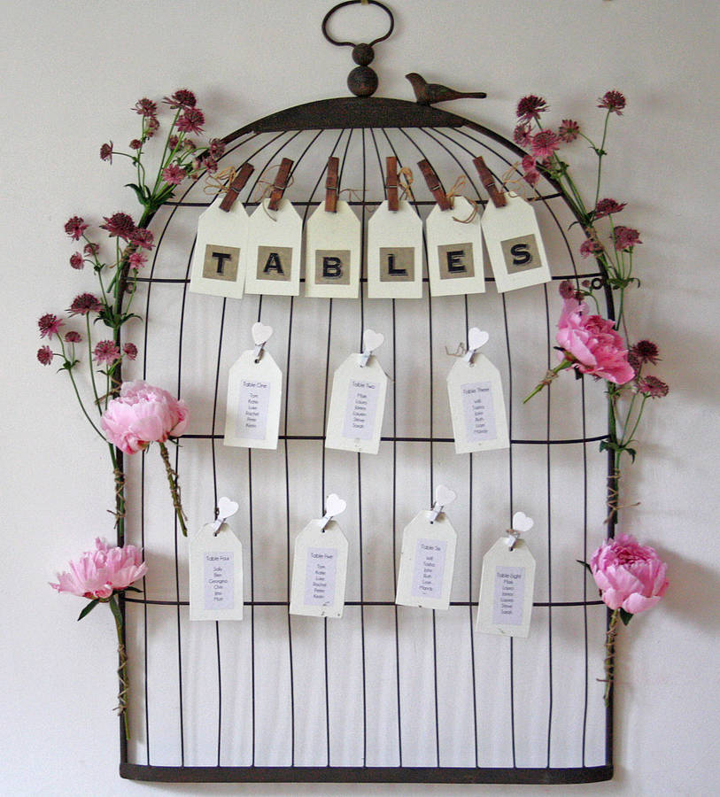 vintage style birdcage noticeboard table plan by the ...