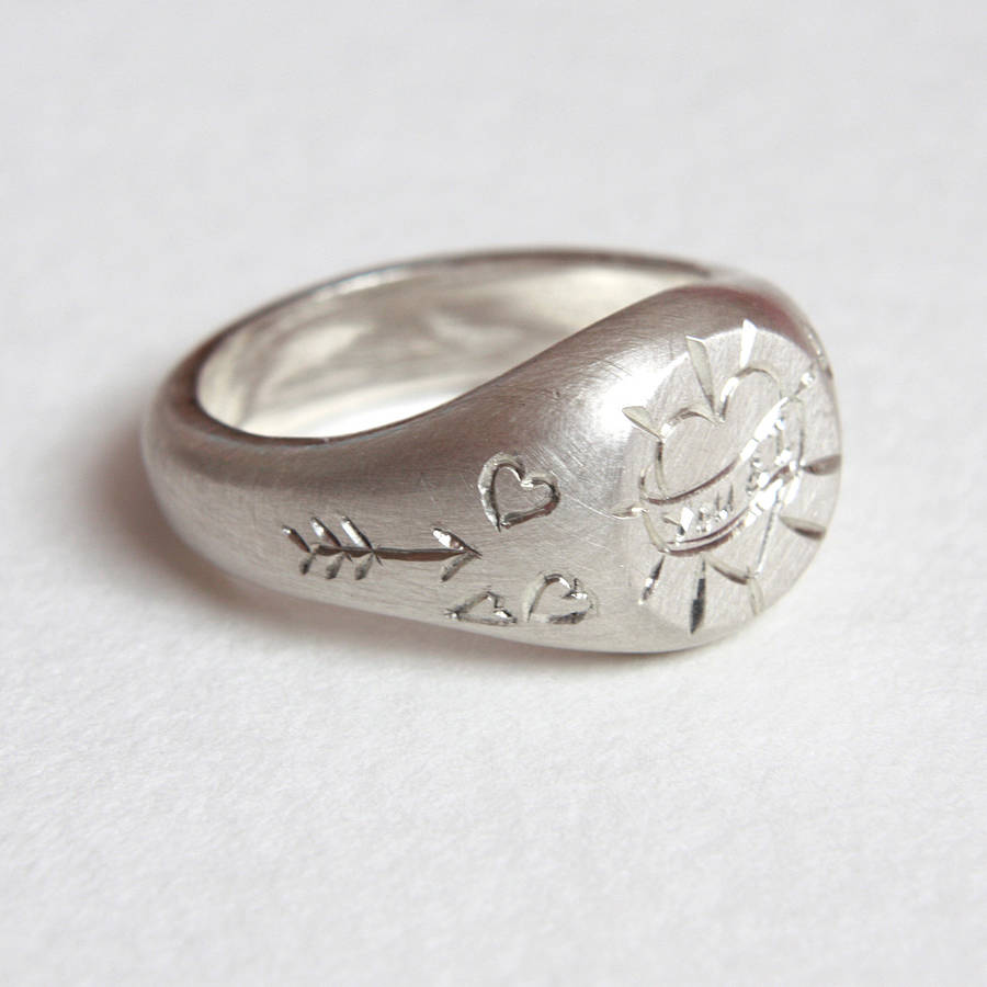 silver no initial image uk wolf signet badger mini ring