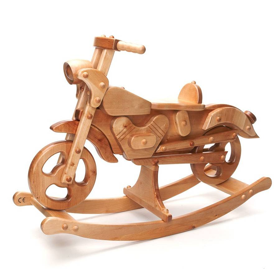 Vintage Style Wooden Rocking Motorbike By Hibba Toys Of