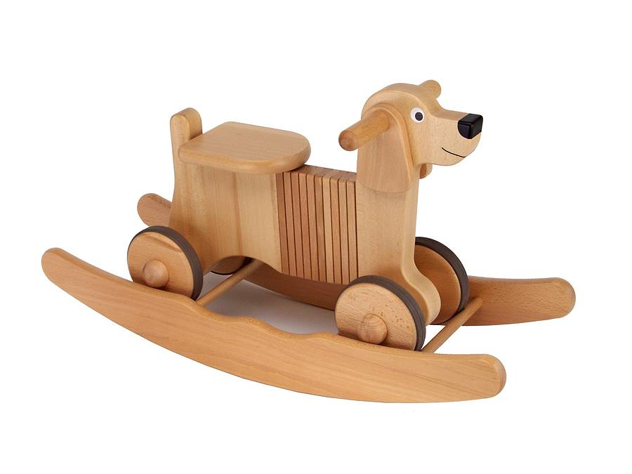 Wooden Rocking Ride On Combination Dog on Vintage Wooden Baby High Chair