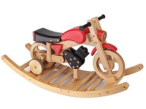 Wooden Rocking And Ride On Trainer Bike - baby's room