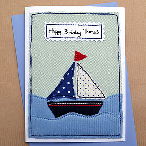 Personalised Sailing Boat Boys Birthday Card