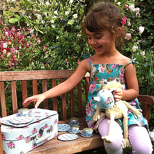 Children's Retro Rose Floral Tea Set - toys & games