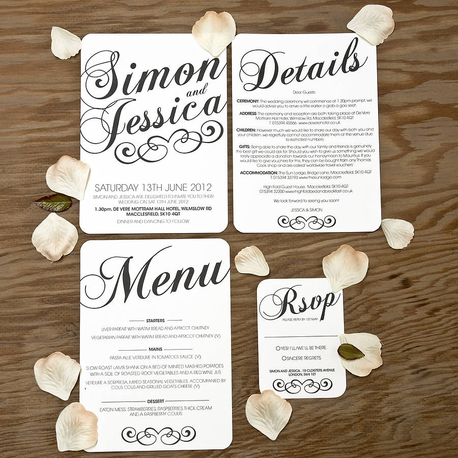 Vintage Style Wedding Stationery Set By Doodlelove