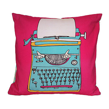 Typewriter Blue Cushion