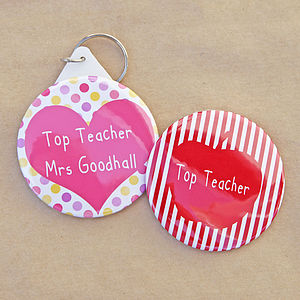 Personalised 'Top Teacher' Keyring Or Magnet