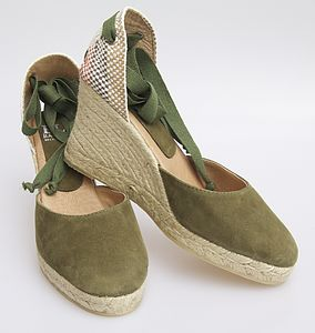 Khaki Classic Ankle Tie Wedge Espadrilles - shoes & boots