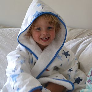 Stars Organic Cotton Kids Bathrobe - bathroom