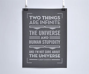'Two Things Are Infinite' Einstein Poster - black and white retro prints