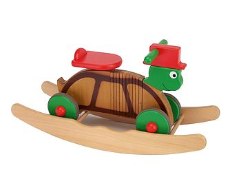 Wooden Rocking And Ride On Turtle Toy
