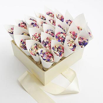 confetti box with white cones and kaleidoscope confetti mix