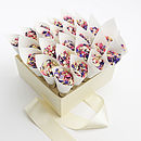 confetti box with white cones and kaleidoscope confetti mix