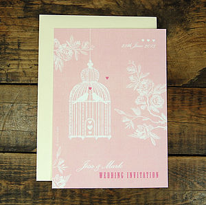Birdcage Love Wedding Invitation - wedding stationery