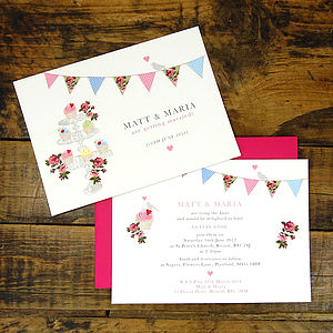 Vintage Inspired Fete Wedding Invitation - wedding stationery
