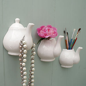Porcelain Teapot Hanging Hook And Vase - hooks, pegs & clips