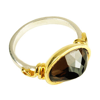 Smoky Quartz Gold And Silver Ring