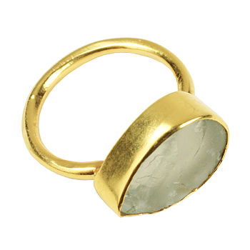 Gold Plate And Aqua Tear Drop Ring