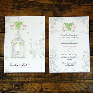 Vintage Style Birdcage Wedding Invitation - invitations