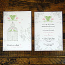 Vintage Birdcage Invitation -Front & Back with Pistachio & Pink details