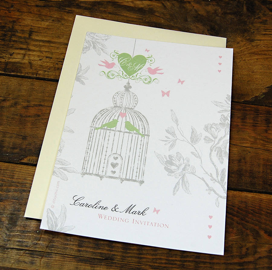 vintage style birdcage wedding invitation by ditsy chic