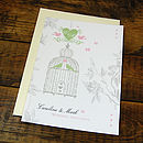 Vintage Birdcage Invitation -Front with Pistachio & Pink details & complimenting Cream envelope