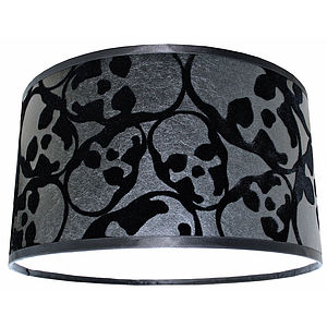 Handmade Flocked Skull Lampshade - lamp bases & shades