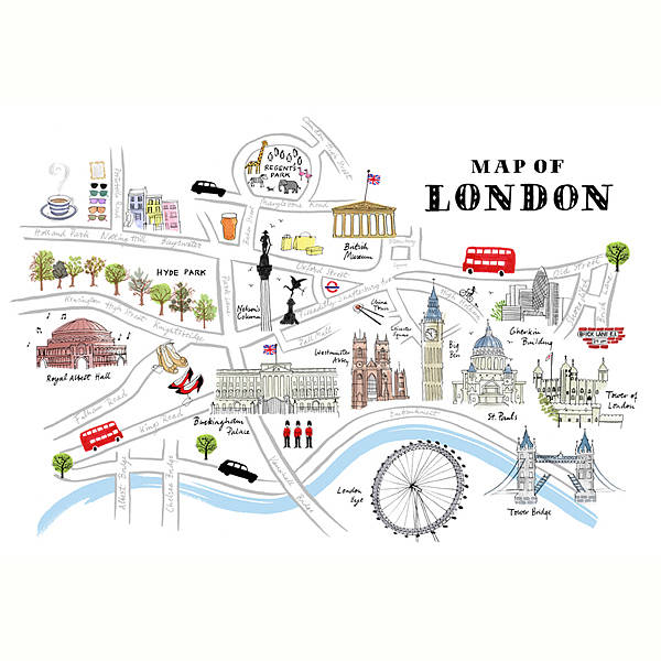 Alice Tait 'map Of London' Print By The Shop: Map Of London Print At Infoasik.co