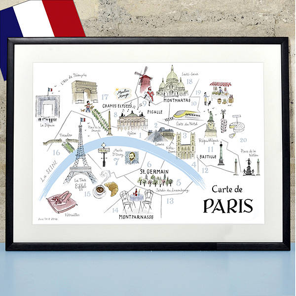 photograph regarding Printable Maps of Paris identify Alice Tait Map Of Paris Print