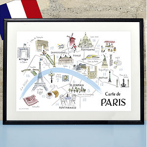 Alice Tait 'Map Of Paris' Print
