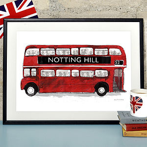 Alice Tait 'Notting Hill London Bus' Print - personalised