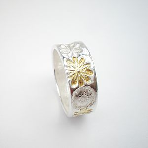 Silver And Gold Floral Ring - rings