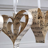 Handmade Sheet Music Heart Decoration - valentine's day