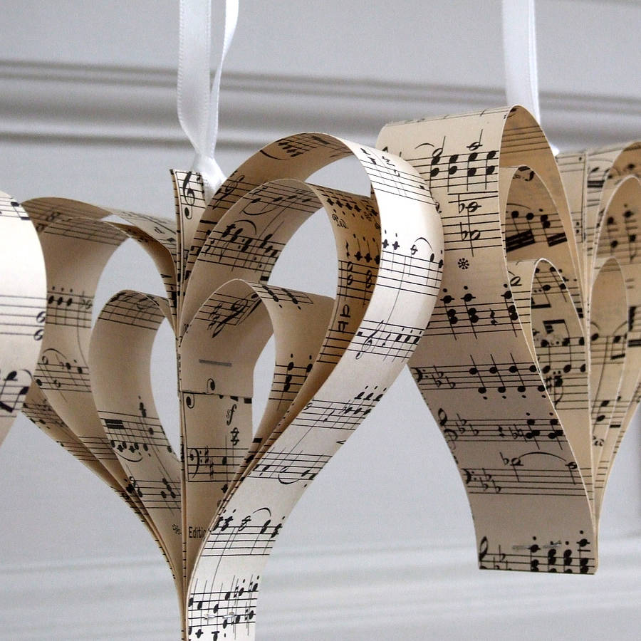 Handmade Sheet Music Heart Decoration By Remade