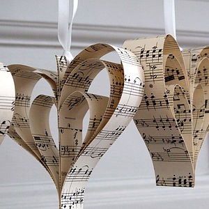 Handmade Sheet Music Heart Decoration - hanging decorations