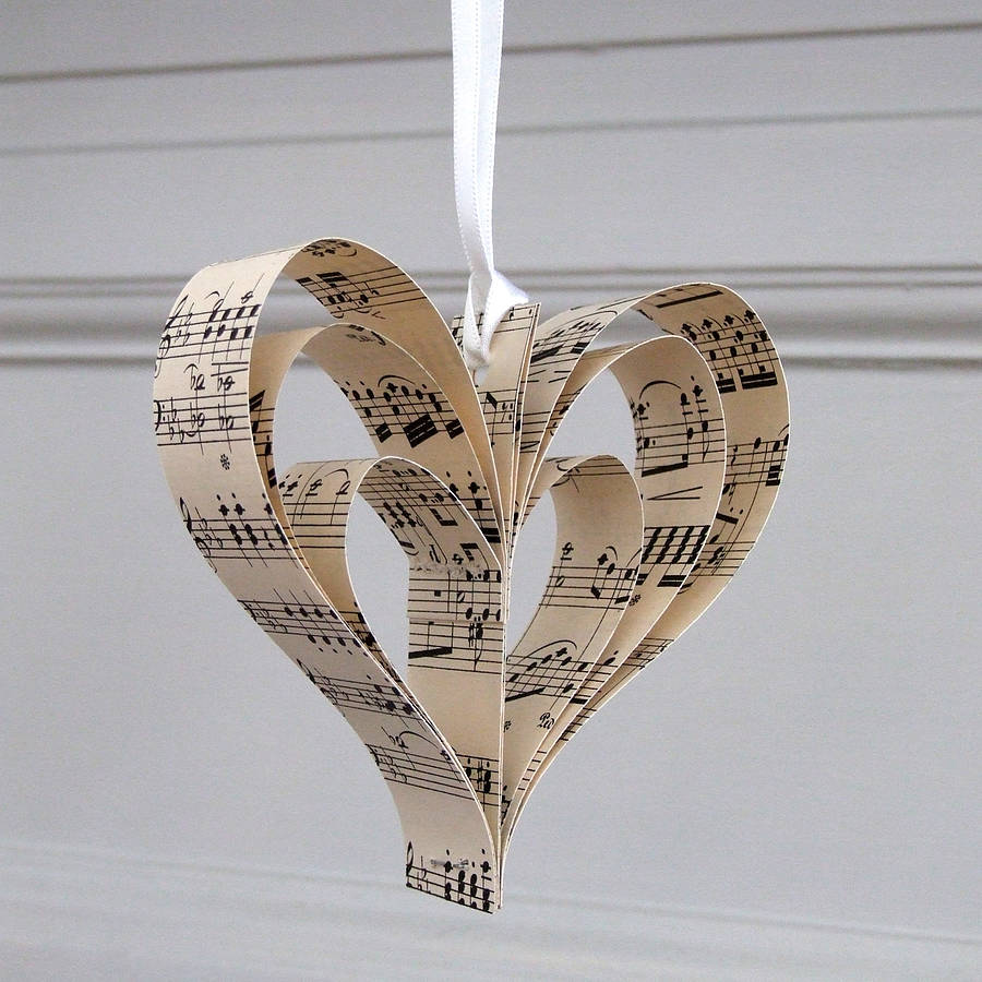 Handmade sheet music heart decoration by re made for Heart decoration ideas