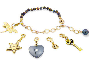 Black Pearl And Gold Chain Charm Bracelet