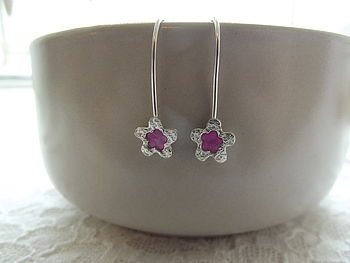 Silver Flower Earrings With Pink Resin Centre
