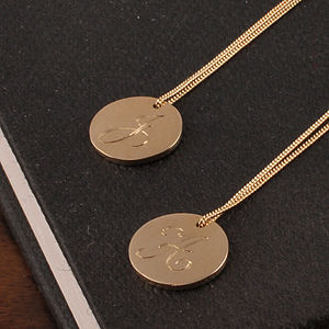 Medium Gold Disc Initial Necklace - monogram & script